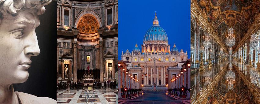 David - Michelangelo Buonarroti, Pantheon in Rome, St. Peter's Basilica - Vatican and Mirror Hall in Versailles