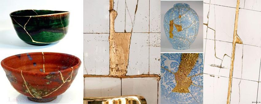 wabi sabi - cracks are repaired to be seen.