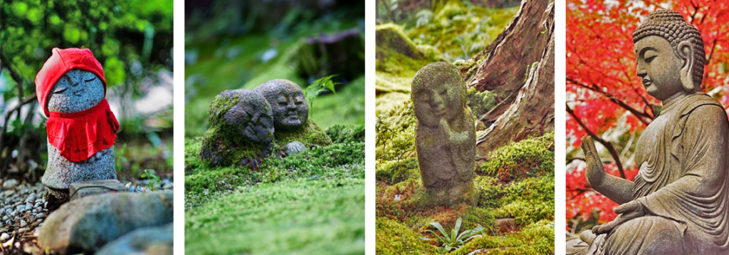 Statues in Japanese gardens, source: tokyotimes.org, pinterest.com, wabisabilife.cz